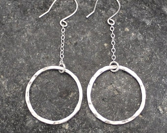 Long Hammered Circle Earrings