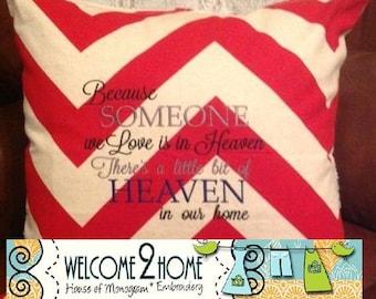 Someone We Love Chevron Pillow, Embroideried, Cotton