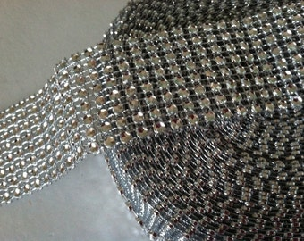 "Rhinestone ribbon, 1.55"" by 1yrd- 8 rows"