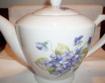 Hand-painted Violets Teapot - Mint Unused Condition
