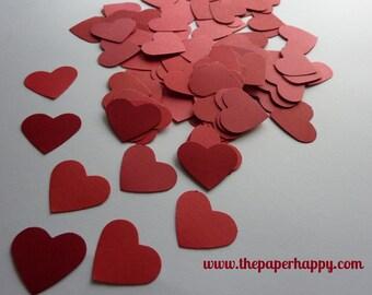 100 RED HEARTS Die Cut Confetti Scrapbook Embellishments