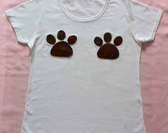 Paw Me! Funny quirky skinny fit women's white t-shirt with applique felt paw designs