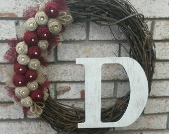 Monogram Grapevine Wreath with Burlap Rosettes - Rustic Wreath - Personalized Wreath - Year Round Wreath - Front Door Wreath - Burlap Wreath