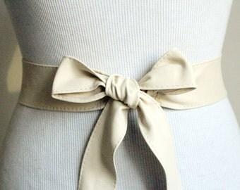 Cream Soft Leather Thin Obi Belt | Leather Coat Belt | Leather tie belt | Narrow Nappa Leather Belt| Soft Obi Belt