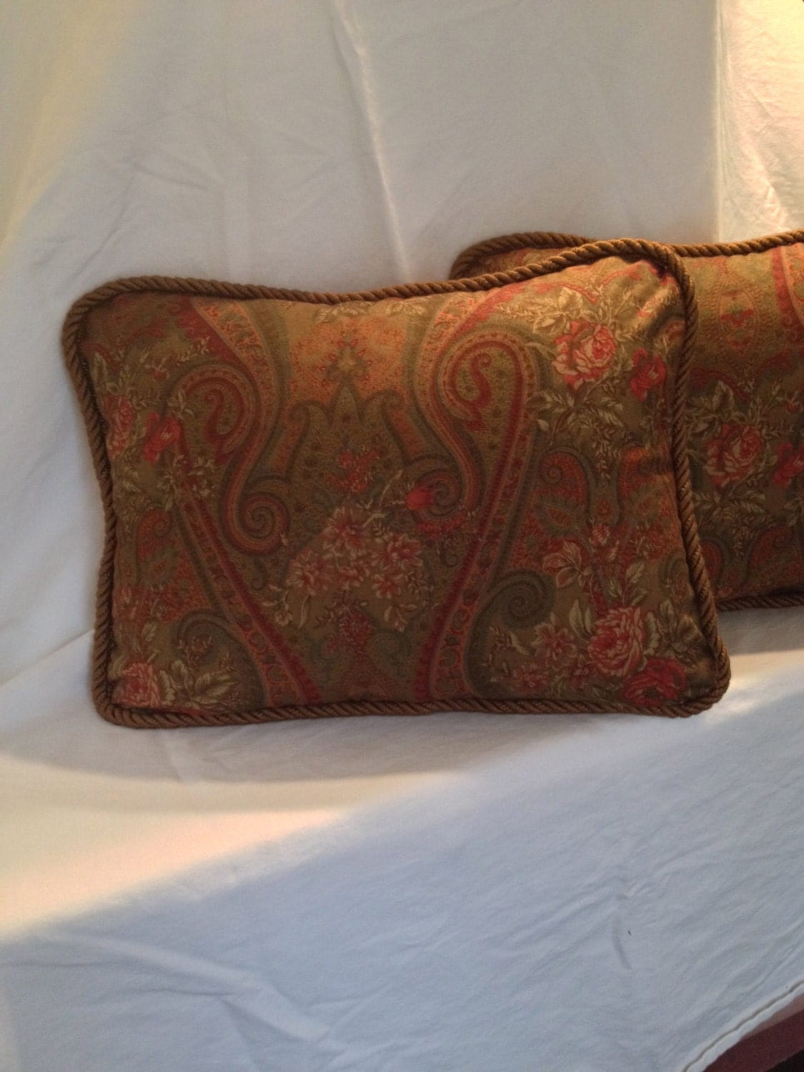 Brown Paisely and Rose Ralph Lauren Pillow Covers