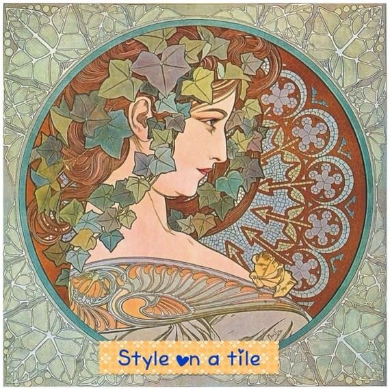 Lovely alphonse mucha art nouveau ivy lady design chinchilla for Art nouveau tile mural