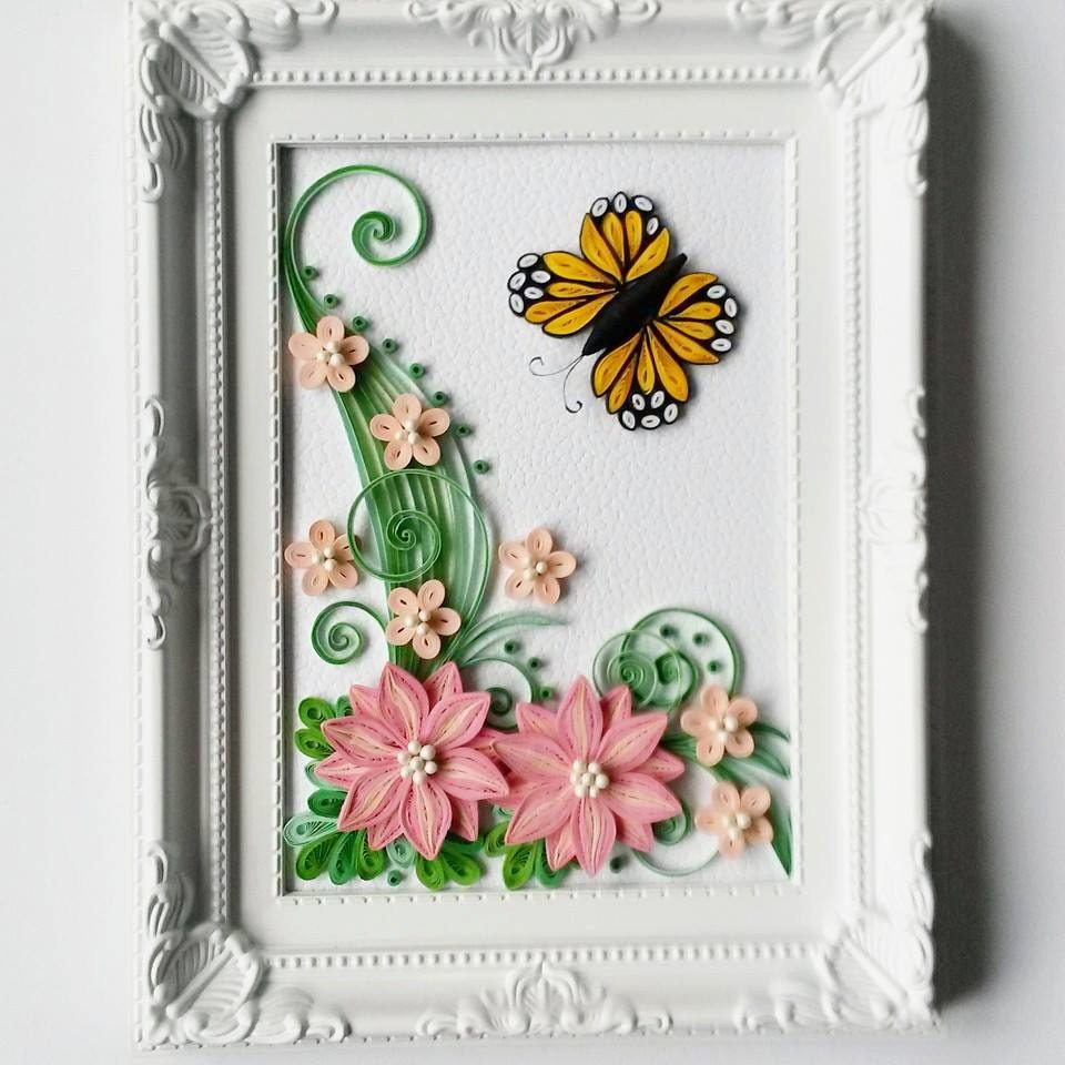 Quilled paper art with flowers home decor framed picture for Decoration quilling