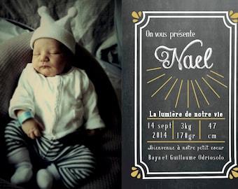 Chalkboard birth card