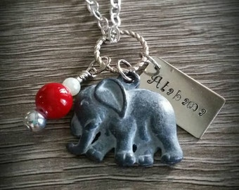 "CLEARANCE**Hand stamped ""Alabama"" elephant necklace."