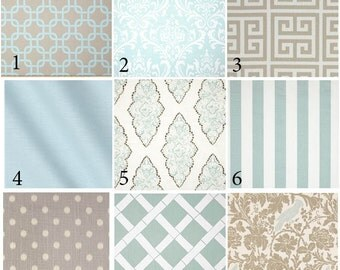 Custom 2 or 3 piece Crib Bedding - Soft Taupe and Blue
