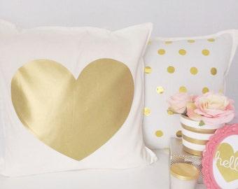 Gold heart pillow cover