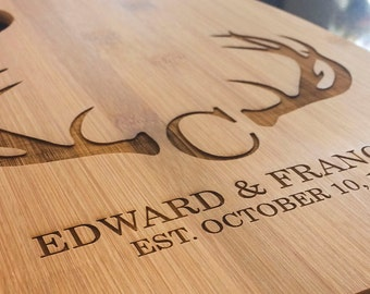 Engraved Wood Cutting Board - Antlers/Hunting