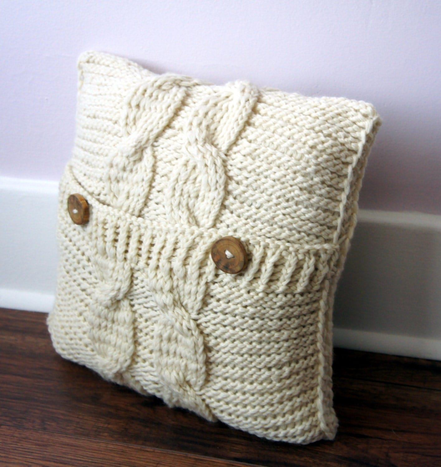 Knit Throw Pillow Cover Pattern : Cable Knit Pillow Cover Pillow cover Decorative Pillow