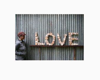 Wall Letters Reclaimed Wood rustic tree slices recycled wood art wood slice art wooden letters wood sculpture modern