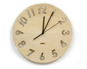 "12"" Wooden Wall Clock -  Modern Numeral"