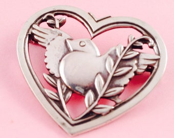 Coro Sterling Silver Heart Shaped Pin With Dove
