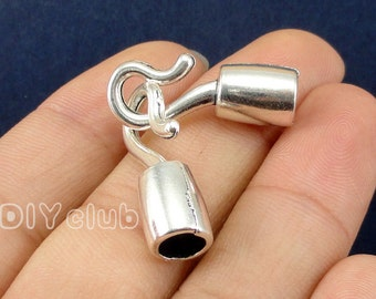 8 sets-Antique Tibetan silver Ribbon Crimp End Caps Fastener Clasps, Hook and Eye Clasp  25x8mm-5.5mm