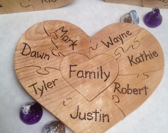 Wedding FAMILY Unity Puzzle, Wooden Heart Puzzle, Blended Family Puzzle in 3 to 8 pieces