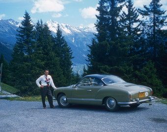 Posing Overseas with a great VW Karmann Ghia During Vacation 1955