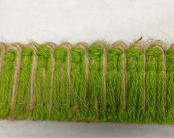 Unique Jute Trim Natural and Green - Jute Green Brush Fringe - Pillow Trim