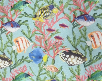 Under The Sea Upholstery fabric - Fun Beach Decor Fabric - Coastal Fabric - Beachy Fabric By The Yard