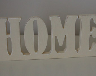 Hand-painted shabby chic wooden HOME sign