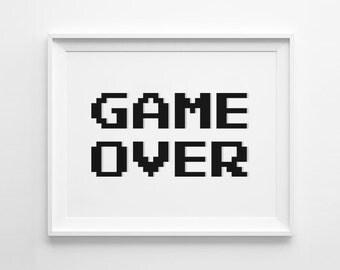 Game Over, Game Over Print, Pixel Art, 8Bit Print, Video Game Print, Gaming Print, Video Game Art, Gaming Art, Gaming Room, Printable Art