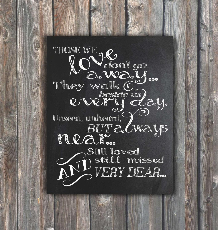 Wedding Chalkboard Ideas: Wedding Memorial SignThose We Love Don't Go By