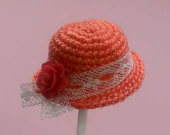 orange vintage style crochet hat to fit dolls house doll 1 /12th
