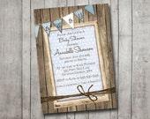 Boy Baby Shower Invitation Rustic Wood Blue Bunting Banner Vintage Shabby Printable Customizable Digital File