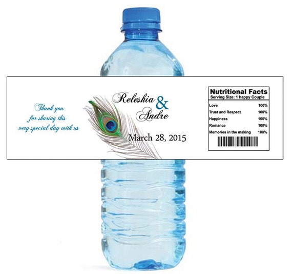 New peacock water bottle labels great for engagement bridal for How to put labels on water bottles