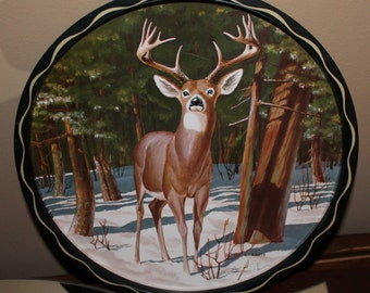 "Vintage James Artig Wildlife Tin Tray with Deer... 11"" in Diameter"