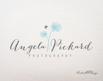 Photography logo, Premade logo, Logo design, Handwritten logo, Dandelion logo, Flower logo, Butterfly logo, Watermark 124