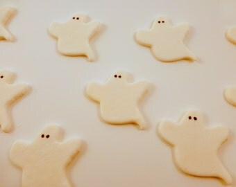 24 cupcake topper ghosts, halloween cupcake toppers, sugar ghosts