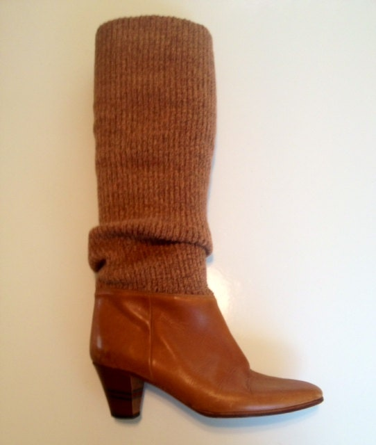 1980s brown sweater boots size 8
