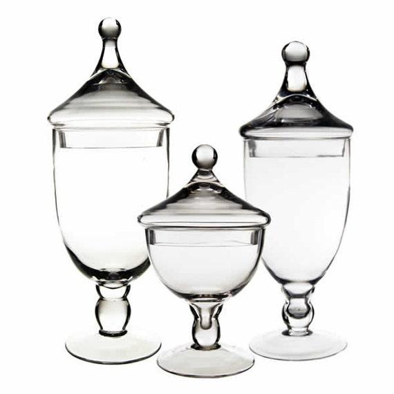 Apothecary jar glass candy buffet jar set of 3 pcs aj111 112 113 - Buffet jaar ...