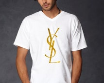 Men YSL t shirt tee t-shirt screen printing on Quality American Brand shirt S-3XL 100% cotton