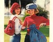 Butterick 3779 Jaunty Retro Cap & Bag 1970's / ONESIZE UNCUT