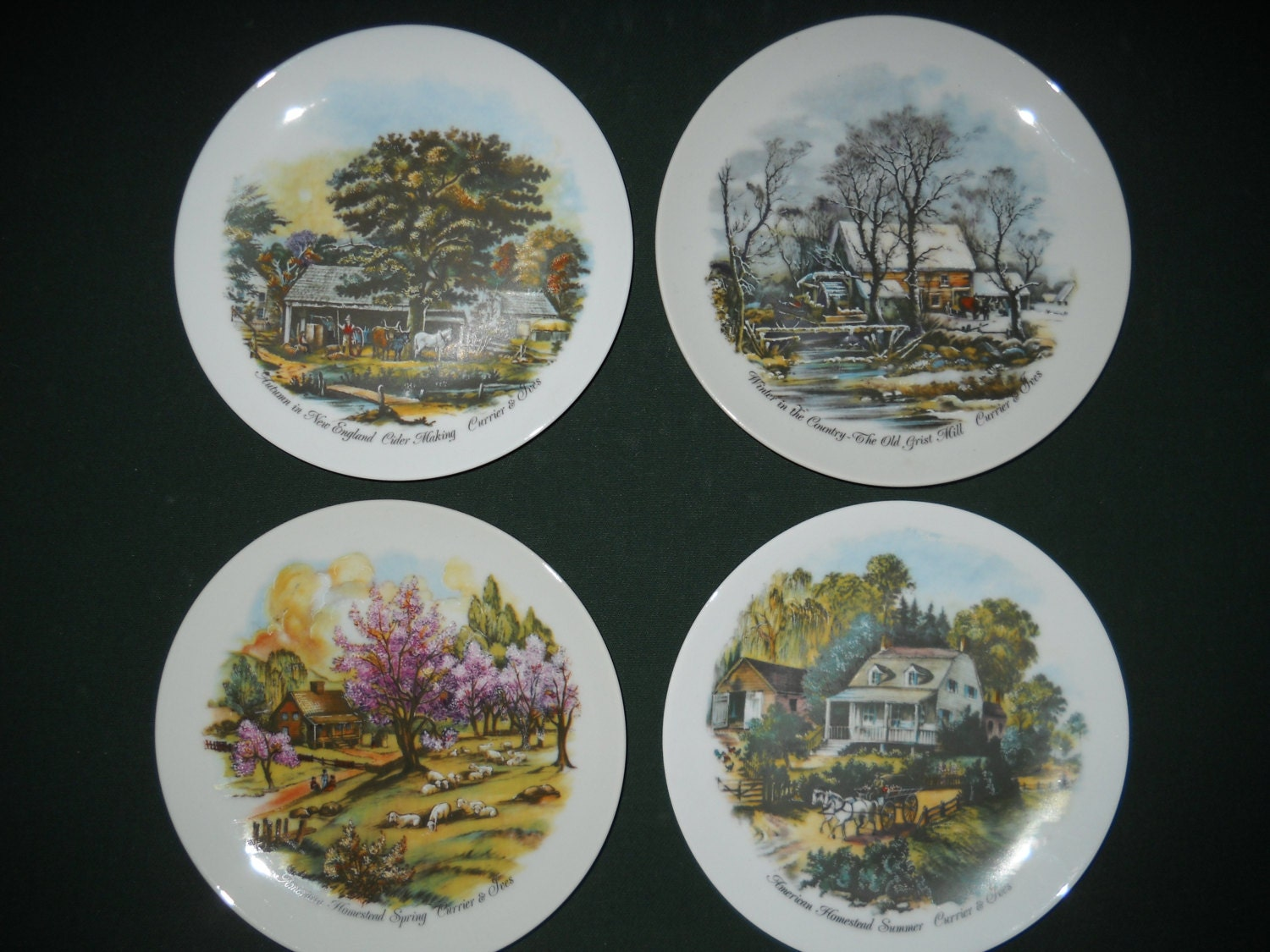 Currier and ives plates set of 4 by annmariesmemories on etsy