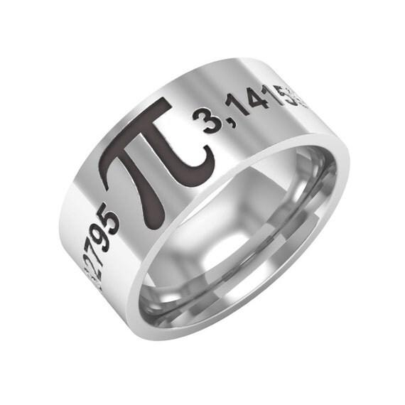 Pi Ring Pi Symbol Ring 314 Pi Band Ring Sterling By BandRings