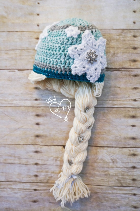 Crochet Elsa Hair Hat : Queen Elsa Crochet Beanie/Hat with Braid, Ice Queen, Winter Hat ...