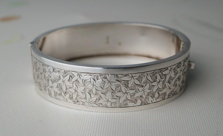 Antique Sterling Silver Bangle Bracelet Victorian 1884
