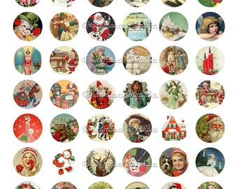 CHRISTMAS MIX 1 inch circle digital download Vintage XMAS collage sheet for pendants, magnets, Bottle Caps, scrapping, craft supply.