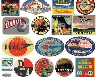 25 Travel Luggage Stickers -  Retro Digital Printable Collage Sheets - Vintage Suitcase Labels - Instant Download - 004
