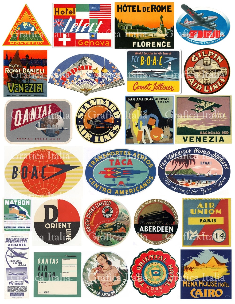25 Travel Luggage Stickers Retro Digital Printable Collage