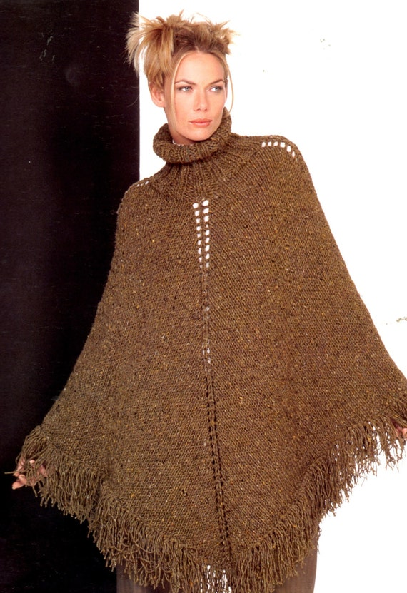 Knitting Pattern For Turtleneck Poncho : Knitting PDF pattern Retro Fringed Turtleneck by Pattern168