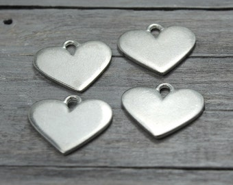 Pewter Heart Blanks, 4 Pack, Pewter Stamping Blank, Heart Blank, Metal Stamping Blanks, Pewter Shapes, Metal Blank, Stamping Supplies