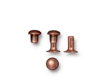 4mm Copper Rivets, TierraCast Copper Rivet Sets, 10 Sets, Cold Connection, Copper Rivets, Leather Rivets, Rivets for Leather INV1503