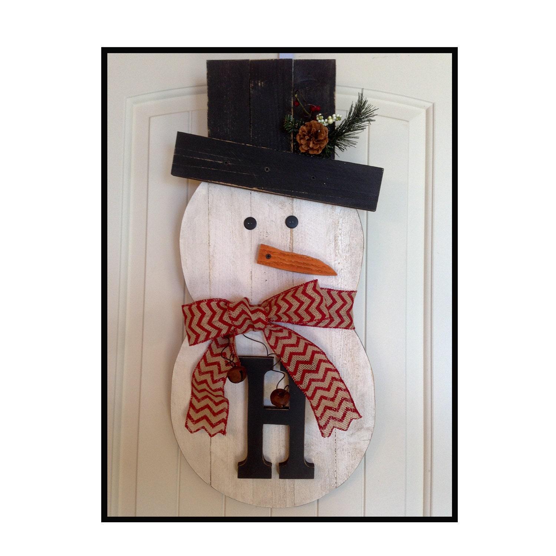 Snowman, wood snowman, holiday wreath snowman, reclaimed wood, front door decor, rustic snowman.