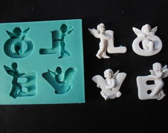Silicone Mould LOVE WITH ANGELS Sugarcraft Cake Decorating Fondant / fimo mold